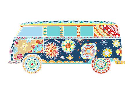 Voiture ancienne d'un mini-van dans le style. Image tirée par la main. Le modèle de bus populaire dans l'environnement des adeptes du mouvement hippie. Vector illustration.