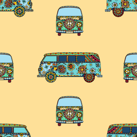 Seamless Pattern of Vintage car a mini van in   style. Hand drawn image. The popular bus model in the environment of the followers of the hippie movement. Vector illustration.