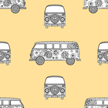 mini van: Seamless Pattern of Vintage car a mini van in   style. Hand drawn image. The popular bus model in the environment of the followers of the hippie movement. Vector illustration.