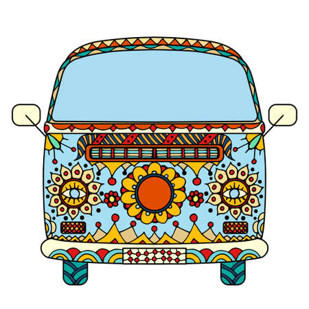 mini van: Vintage car a mini van in style. Hand drawn image. The popular bus model in the environment of the followers of the hippie movement. Vector illustration. Illustration