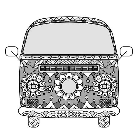 vintage power: Vintage car a mini van in style. Hand drawn image. Monochrome vector illustration. The popular bus model in the environment of the followers of the hippie movement. Illustration
