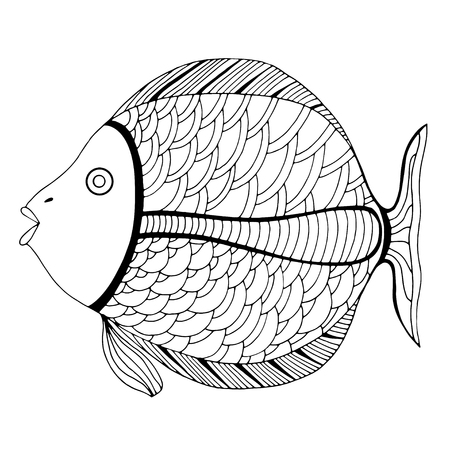 fish type:   stylized Fish. Hand Drawn doodle vector illustration isolated on white background. Sketch for tattoo or makhenda. Sea food collection. Illustration