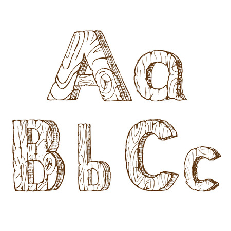 crooked: Hand-drawn wooden alphabet:  A, B, C. Vector illustration Isolated on white