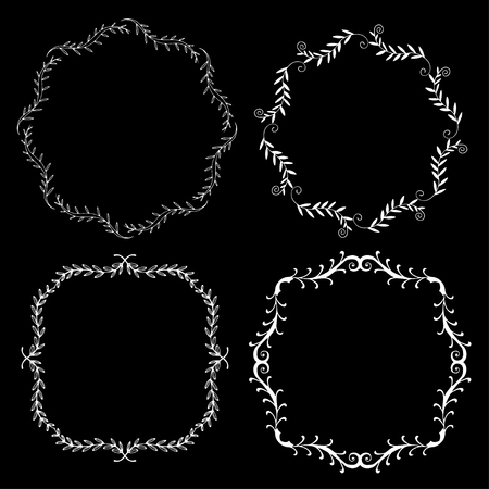 circumference: Set of hand drawn decorative frames. A set of four decorative frames. Set of decorative doodle wreaths made of branches. Black background. Black and white.