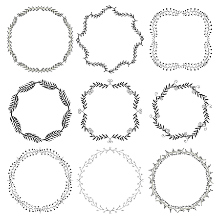 circumference: Set of hand drawn decorative frames. A set of four decorative frames. Set of decorative doodle wreaths made of branches. White background. Black and white.