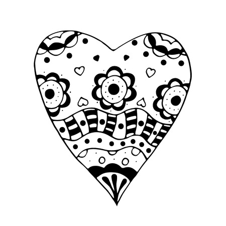 sketchy: Monochrome Sketchy Doodle Heart and Swirls Vector Illustration