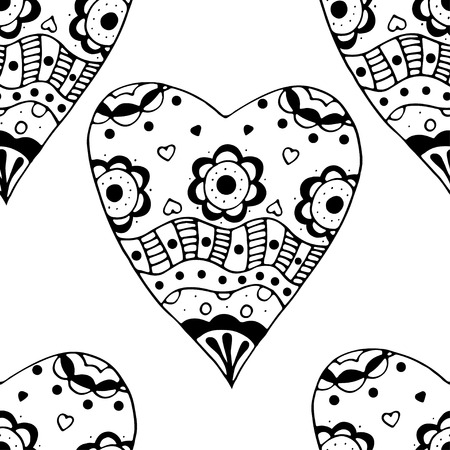 retro grunge: Hand drawn doodle Seamless black and white Sketchy Doodle Heart Swirls Vector Illustration background.