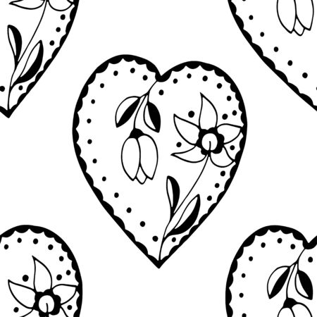 white heart: Hand drawn doodle Seamless black and white Sketchy Doodle Heart Swirls Vector Illustration background.