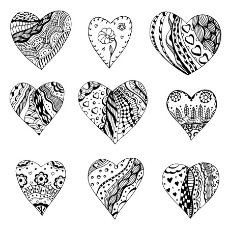 doodling: Set of hand drawn monochrome hearts in zentangle style. Pattern for coloring book. Coloring page for adult anti stress. Made by trace from sketch. Valentines day background.