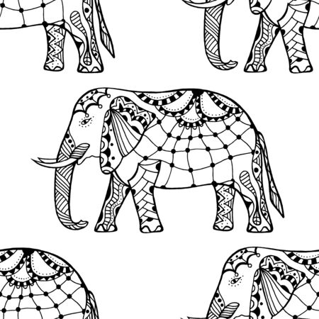 ohm: Ethnic ornate seamless pattern with hand drawn elephants and Ohm sign.  Isolated vector illustration. For Hindu, African, Indian, Thai, boho design, spiritual print, wrapping and textiles. Illustration