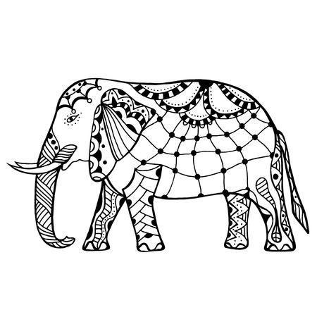 dessin fleur: �l�phant d�coratif illustration. Th�me indien avec ornements. Vector illustration isol�. Illustration