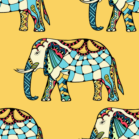 festal: seamless texture with stylized patterned elephants in Indian style