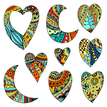 wedding heart: Set Hand drawn colored hearts and crescent in zentangle style. Pattern for coloring book. Coloring page for adult anti stress. Made by trace from sketch. Valentines day background. Illustration
