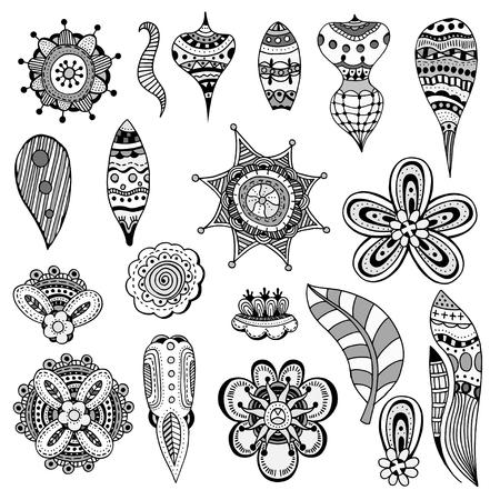 Monochrome Set von abstrakten Blumen, Blätter und Paisley-Elementen in Indian Mehndi Stil. Hand floral Doodles gezeichnet. Orient traditionellen Hintergrund Design. Ethnische Muster. Vektor-Illustration.