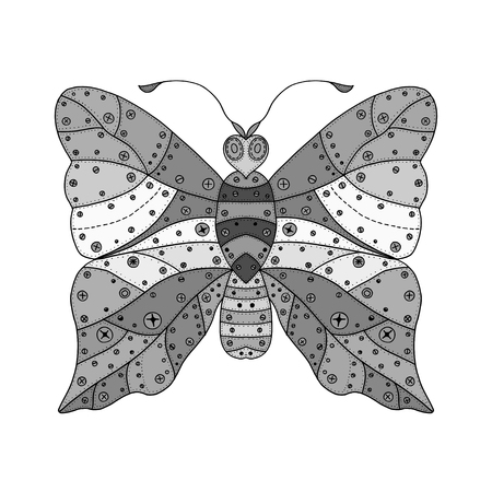 butterfly isolated: Zentangle stylized black Butterfly. Hand Drawn vector illustration isolated on white background. Sketch for tattoo or makhenda. Insect collection.