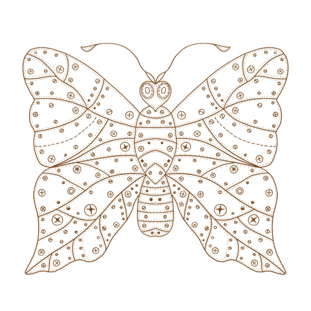 butterfly isolated: Zentangle stylized brown Butterfly. Hand Drawn vector illustration isolated on white background. Sketch for tattoo or makhenda. Insect collection. Illustration