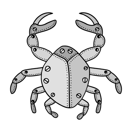 green crab: Zentangle stylized crab doodle. Hand Drawn vector illustration isolated on white background. Sketch for tattoo or makhenda. Insect collection.