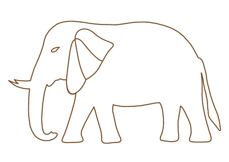 power giant: Thai elephant freehand on a white background, vector illustration