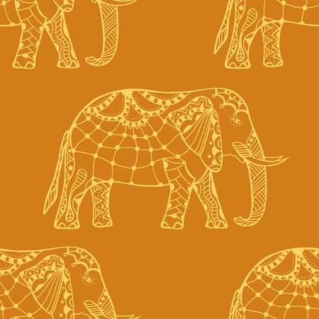 bollywood: Zentangle stylized Indian Elephant. Hand Drawn vector illustration isolated on white background. Makhenda Bollywood seamless pattern.