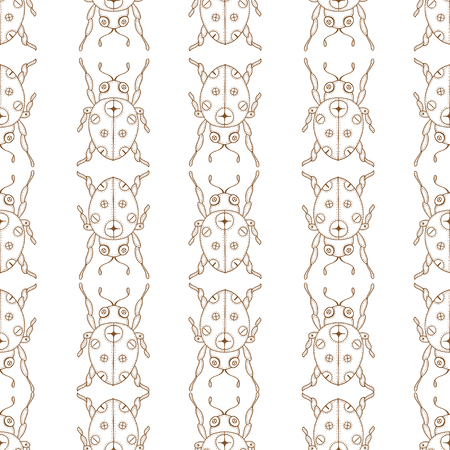 lady beetle: Seamless vector pattern with insects, symmetrical  brown and white background with ladybugs and dots.