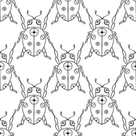 lady beetle: Seamless vector pattern with insects, symmetrical  black and white background with ladybugs and dots.