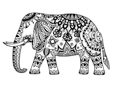 Indian elephant. Hand drawn doodle indian elephant with tribal ornament. Vector ethnic elephant. Illustration