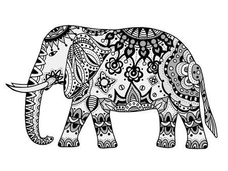 siluetas de elefantes: elefante indio. Mano doodle elefante indio con el ornamento de la tribu. Vector de elefante étnico.
