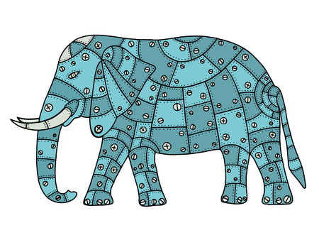 rivets: Hand Drawn elephant metal patches with rivets and bolts. Vector illustration isolated on white background