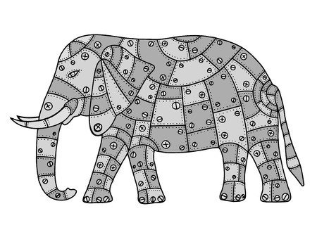 white patches: Hand Drawn Gray elephant metal patches with rivets and bolts. Vector illustration isolated on white background Illustration