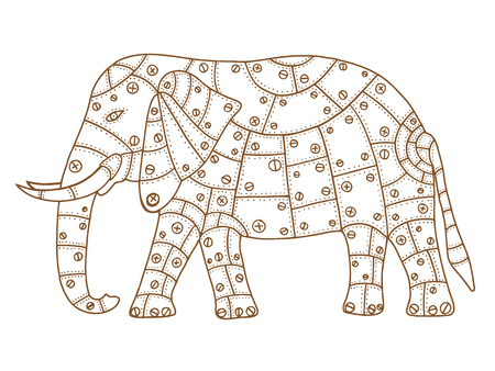 white patches: Hand Drawn Brown elephant metal patches with rivets and bolts. Vector illustration isolated on white background