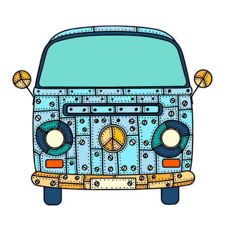mini van: Vintage car a mini van in  style. Hand drawn image. The popular bus model in the environment of the followers of the hippie movement. Vector illustration.