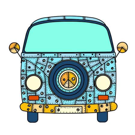 auto old: coches de época una mini furgoneta en el estilo del zentangle. Dibujado a mano la imagen. El modelo de autobús popular en el entorno de los seguidores del movimiento hippie. Ilustración del vector. Vectores