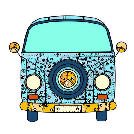 in front: Vintage car a mini van in zentangle style. Hand drawn image. The popular bus model in the environment of the followers of the hippie movement. Vector illustration. Illustration