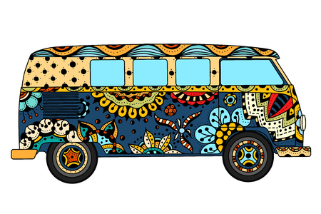 camper: Vintage car a mini van in c style. Hand drawn image. The popular bus model in the environment of the followers of the hippie movement. Vector illustration.