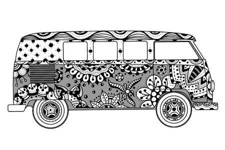 hippie: Vintage car a mini van in c style. Hand drawn image. Monochrome vector illustration. The popular bus model in the environment of the followers of the hippie movement.