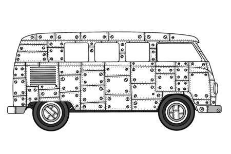 mini van: Vintage car a mini van in  style. Hand drawn image. Monochrome vector illustration. The popular bus model in the environment of the followers of the hippie movement.