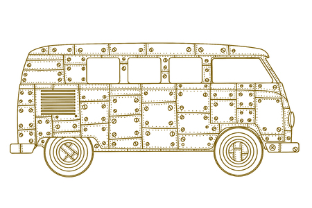 Vintage car a mini van in zentangle style. Hand drawn image. Monochrome vector illustration. The popular bus model in the environment of the followers of the hippie movement. Illustration