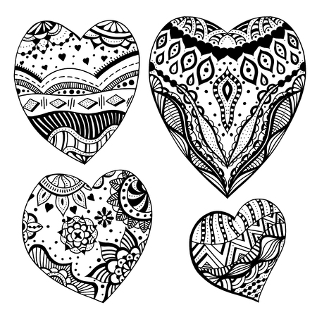 Set Of Hand Drawn Monochrome Hearts In Zentangle Style Pattern For Coloring Book