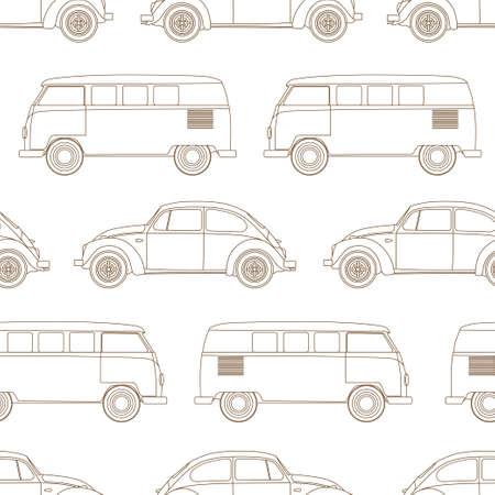hollyday: Retro, vintage, travel, camper van and small car, seamless pattern. Vector illustration.