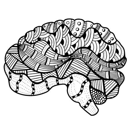 sketchy: Zentangle Sketchy Human Brain doodle decorative curves outline ornamental seamless pattern