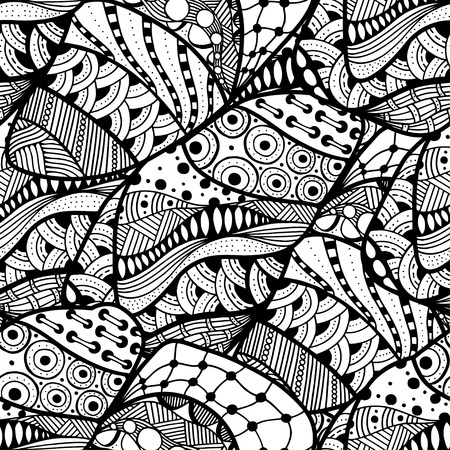 abstract doodle: Seamless abstract doodle background pattern in vector.  Design Asian, ethnic, zentangle, tribal pattern. Black and white background. Coloring book. Monochrome.