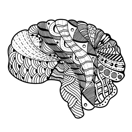 sketchy: Zentangle Sketchy Human Brain doodle decorative curves outline ornamental seamless pattern