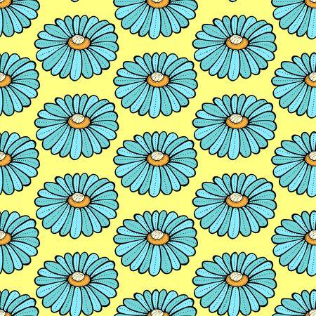 daisy field: Blue daisies flower seamless pattern on a green background. Daisy field Illustration