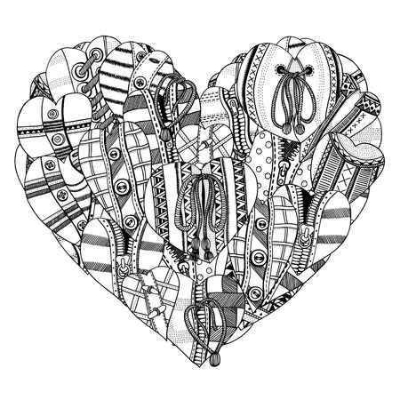 big and small: Big Heart of small hand drawn hearts. Background for Valentines day. Sketch for coloring book. Vector, doodle design elements.  Black and white.