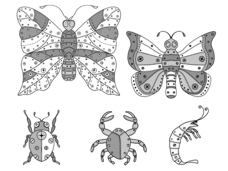 fauna: Hand drawn bright vector set of zentangle insects and marine fauna illustration. Decorative abstract doodle design element