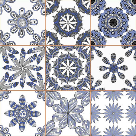 ceramic tiles: Indigo blue Tiles Floor Ornament Collection. Gorgeous Seamless Patchwork Pattern from Traditional Painted Tin Glazed Ceramic Tilework Vintage Illustration. For web page template background Illustration