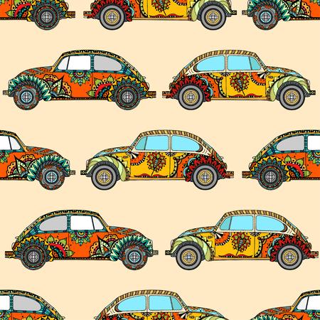 シームレス パターンのヴィンテージ車スタイルで。手描きイメージ。ヒッピー運動の信者の環境で人気のある車種。ベクトルの図。