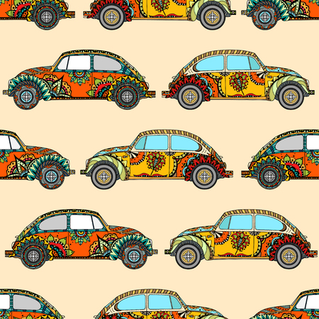 Seamless Pattern of Vintage car in  style. Hand drawn image. The popular car model in the environment of the followers of the hippie movement. Vector illustration.