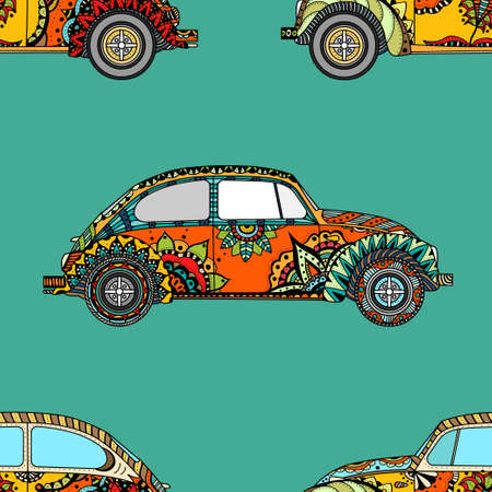 beach side: Seamless Pattern of Vintage car in zentangle style. Hand drawn image. The popular car model in the environment of the followers of the hippie movement. Vector illustration.