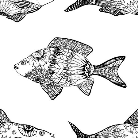 black lines: seamless pattern with fish with floral elements in black and white doodle style. Pattern for coloring book
